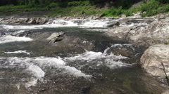 Ottauquechee River In Forest Water Flowing Over Rock And Stone Stock Footage