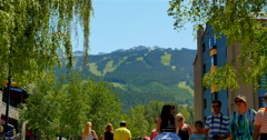 4K Whistler Mountain in Background, Telephoto Shot from Whistler Village - stock footage