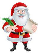 Santa Holding Scroll and Quill - stock illustration