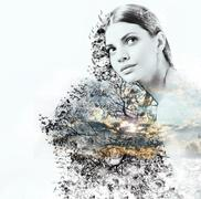 abstract double exposure of woman and beauty of nature at the sunset - stock photo