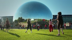 Dance Fitness Team Park, Paris Stock Footage