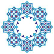Designed with shades of blue ottoman pattern series seven Stock Illustration