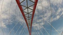 Bridge over the Ob river in Novosibirsk bottom view Stock Footage