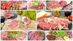 Italian cured meat platters collage Stock Footage