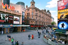 Aerial view of  Leicester Square London UK Stock Photos
