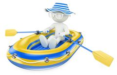 3D white people. Child paddling in an inflatable boat - stock illustration