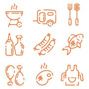 Stock Illustration of BBQ line icons set on a white background