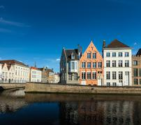 Europe town travel background - canal and medieval houses. Bruges (Brugge), B - stock photo