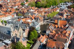 Aerial view of Bruges (Brugge) from Belfry, Belgium Stock Photos