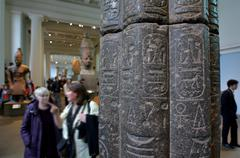 Visitors in the British Museum in London UK - stock photo