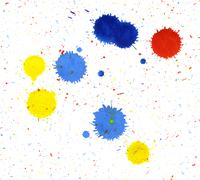 colored paint splatters - stock photo