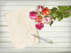 Fresh Roses on wooden background. EPS 10 - stock illustration