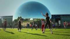 La Géode Fitness Group Training Park. Paris Stock Footage