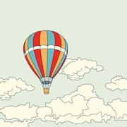 Air balloon flying in the clouds vector illustration - stock illustration