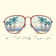 Reflection of the beach, palm trees, beach in sunglasses Stock Illustration