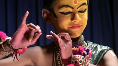 Child getting ready for Kathakali dances theatrical Stock Footage
