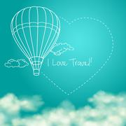 Balloon flying in the sunny blue sky leaving behind a heart shaped smoke trail - stock illustration