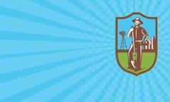 Business card Farmer With Spade Windmill Farm Barn Retro Stock Illustration