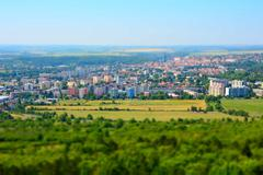 Tilt shift landscape - stock photo