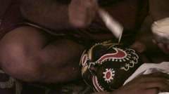 Préparatif and make-up for the danced Kathakali theater Stock Footage