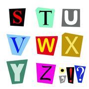 cut out letters S to Z - stock illustration