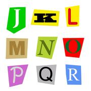 Cut out letters J to R Stock Illustration
