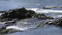 Water Flowing Around Rocks And Stone Ottauquechee River Vermont Stock Footage
