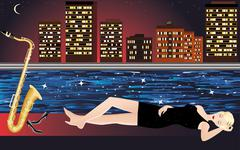 Girl with saxophone, night city and river. - stock illustration