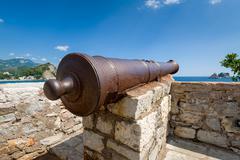 Old rusty cannon gun - stock photo