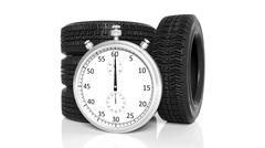 Stock Illustration of Silver chronometer with tyres, isolated on white