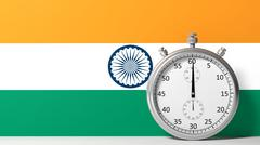 Stock Illustration of Flag of India with chronometer
