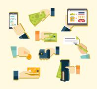 Various Methods of Payment - stock illustration
