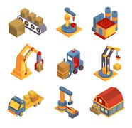 Isometric Factory Flowchart with Robotic Machinery Symbols Stock Illustration