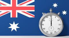 Flag of Australia with chronometer - stock illustration