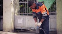Jackhammer road repair Stock Footage