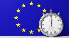 Flag of European Union with chronometer - stock illustration