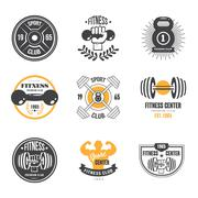 Stock Illustration of Sport and Fitness Logo Templates, Gym Logotypes, Athletic Labels