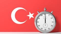 Flag of Turkey with chronometer Stock Illustration