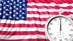 Flag of USA with chronometer - stock illustration