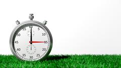 Silver chronometer on green grass, isolated on white - stock illustration
