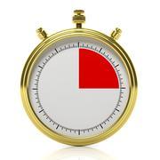 Gold chronometer set on 15 seconds, isolated on white Stock Illustration
