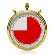 Gold chronometer set on 45 seconds, isolated on white Stock Illustration