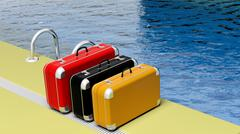Colorful suitcases beside the swimming pool crystal water Piirros