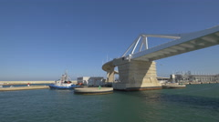 Stock Video Footage of The Porta d'Europa bridge in Barcelona