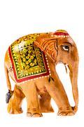 Indian wooden elephant Stock Photos