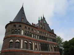 Holsten gate in Lubeck - stock photo