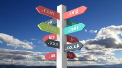 Stock Illustration of Signpost with domain names with blue skybackground