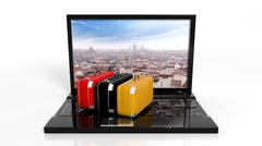 Suitcases on black laptop keyboard with city on screen, isolated - stock illustration