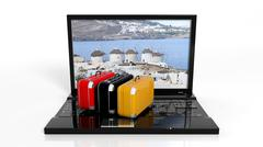 Stock Illustration of Suitcases on black laptop keyboard with Greek island on screen, isolated