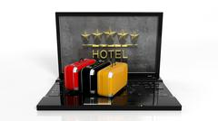 Suitcases on laptop keyboard with 5 stars hotel symbol on screen - stock illustration
